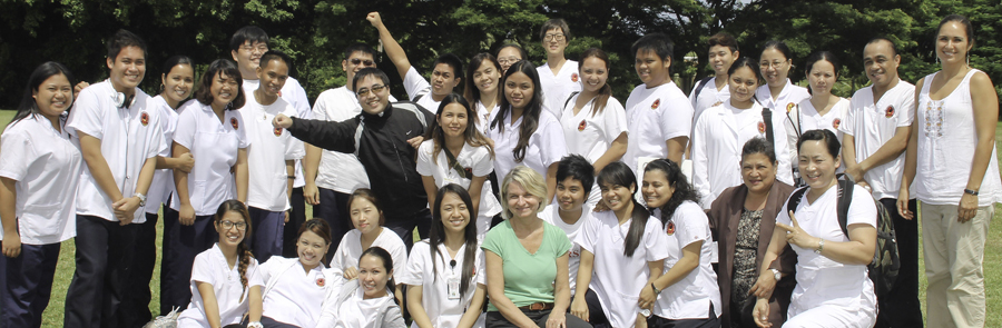 CNMI student nurses are taught measurement techniques by Drs. Novotny (middle) and Fialkowski (far right).