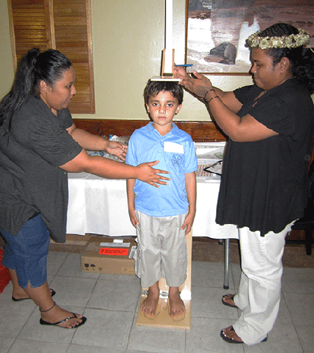 FAS staff team up to measure a child.