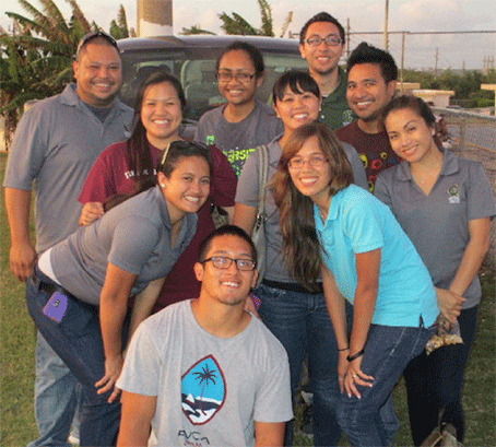 The Guam CHL recruitment and measurement team after another successful day in the field.