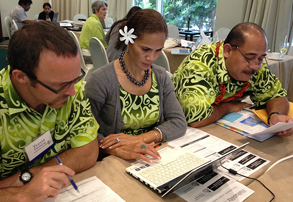 Travis, Ursula, and Aufa'i work on understanding CHL data collection requirements.