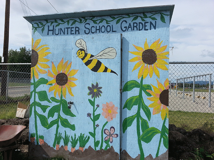Hunter Elementary School garden shed keeps tools safe.