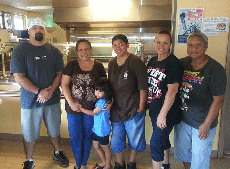 UKK kitchen staff. Left to Right:  Chris, Trisha, Ka'iulani, Sariah, Shayne, and Sarah.