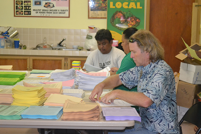 Johnathan Deenik; FAS Lead Site Investigator, Joeleen Riklon; Outreach Educator RMI and Rally Jim; FAS Program Manager prepare forms for the Pohnpei Prevalence Survey.