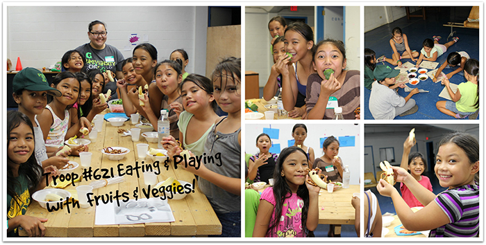 "Guam Girl Scout's focused on fruits & vegetables and a balanced diet during their second meeting.  The girls extracted and painted with pigments from fruits & vegetables and talked about all the benefits of those pigments.  They did some activities from the MyPlate site and created a food passport.  Each week the girls will try one new healthy food and then write it in their passport as an entry.  For their ""Snack-tivity"", the girls made banana-apple butterflies and had some veggies with fat-free Ranch too!"