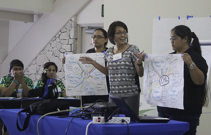"CHL trainees Patricia Coleman (center) and Rose Castro (left) from the CNMI present a ""network analysis"" at the All CHL meeting in American Samoa, 2014."